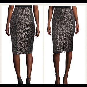 Worthington Black Jaquard Pencil Skirt